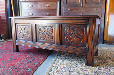 Arts & Crafts Oak Coffer or Box Trunk with beautiful Carved Leaf motif - erfmann-vintage