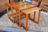 Vintage Retro Nest of 3 Tables Danish Style in Teak - erfmann-vintage