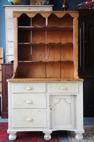Victorian Rustic Country Small Painted Pine Dresser - erfmann-vintage