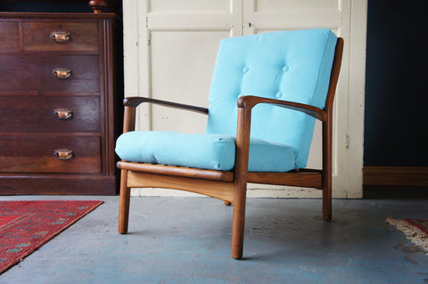 Mid Century Danish Armchair Reupholstered in Blue Fabric Teak - erfmann-vintage