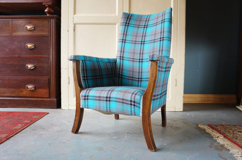 Traditional Reupholstered Blue Checked Low Armchair - erfmann-vintage