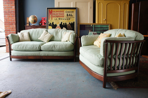 Two ERCOL Renaissance Sofas/Settees in Cherry Wood with Blue/Green cushions - erfmann-vintage