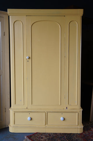 Victorian Painted Wardrobe in Cream/Yellow Very Large Solid Pine with Drawer - erfmann-vintage