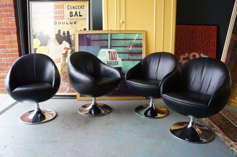 Nightclub Tub Chairs - chrome and black faux leather - Four In stock - erfmann-vintage
