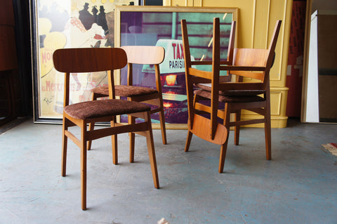 Vintage Retro 4 Dining / Kitchen Chairs in Teak and recently Recovered - erfmann-vintage
