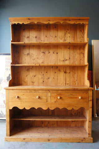 Victorian Style Large Pine Welsh Dresser Cabinet Shelving Unit Up Cycle - erfmann-vintage