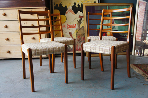 Vintage Retro Newly Covered Dining Chairs with Retro Print Upholstery & Teak Frame - erfmann-vintage