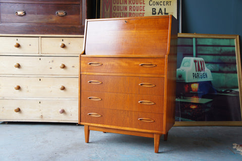 Vintage Retro Teak Bureau Computer Desk Danish Style with 4 Drawers - erfmann-vintage