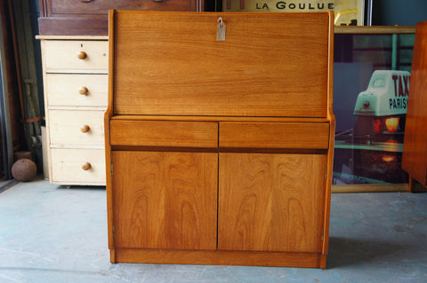 Mid Century Danish Style Teak Bureau Writing Computer Desk with Cupboard - erfmann-vintage