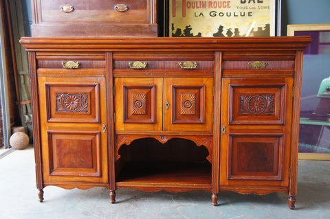 Edwardian Sideboard Dark Walnut/Mahogany Colour Great for Up-Cycling - erfmann-vintage