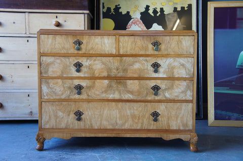 Edwardian to Art Deco Chest of Drawers Walnut Veneer & Maple Frame - erfmann-vintage