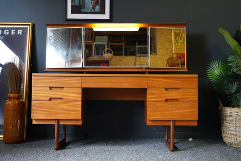 Mid Century Uniflex Unit Furniture Dressing Table & Mirror / Desk