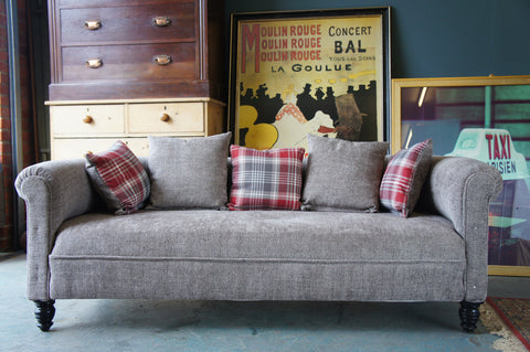 Victorian Roll Top 3 Seater Sofa/Settee Fully ReUpholstered in Contemporary Next Fabric - erfmann-vintage