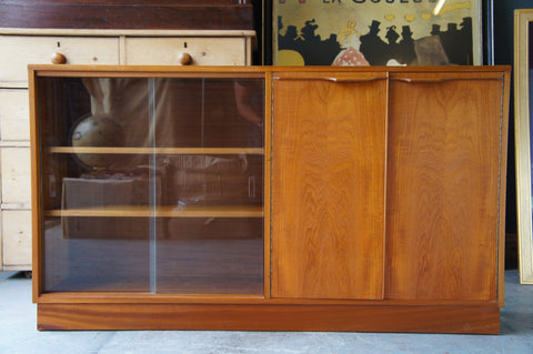 Vintage Danish style 1980s Glass Fronted Teak Bookcase with Shelves - erfmann-vintage