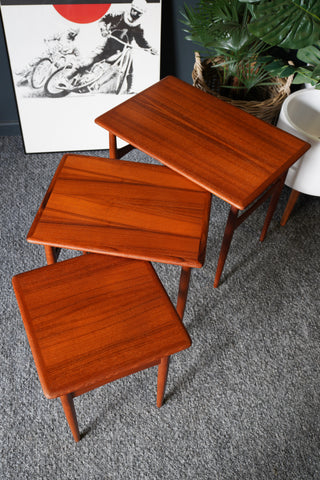 Mid Century Vintage Nest of Tables in Teak & Rosewood Nested Tables