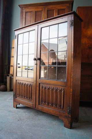 Early 20th Century Linenfold Leaded Glass Bookcase Solid Oak - erfmann-vintage