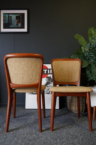Mid Century Vintage Pair of Danish Dining Chairs by Koefoeds Hornslet