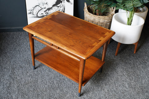 Mid Century Vintage Side Table Walnut with Oak Edging US Manufacturers LANE (straight edge)