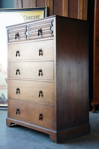 Early 20th Century Solid Oak Chest of 6 Drawers with Drop Handles Mission Style - erfmann-vintage