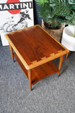 Mid Century Vintage Side Table Walnut with Oak Edging US Manufacturers LANE (curved edge)