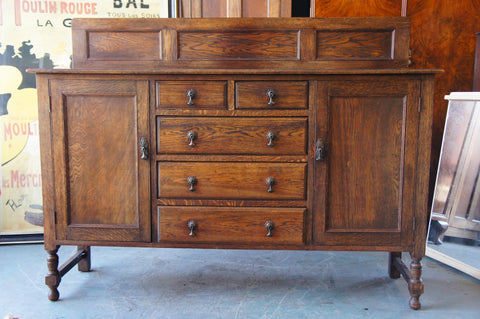 Early 20th Century Arts & Crafts Mission Style Solid Oak Sideboard 1920s-1940s - erfmann-vintage