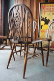 Four Bevan Funnell Wheel Back Spindle Dining Kitchen Chairs - erfmann-vintage