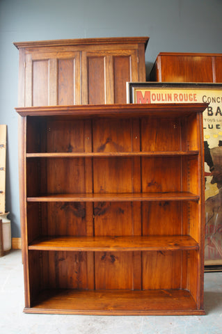 Rustic Victorian Style Large Solid Pine Shelves Bookcase Storage - erfmann-vintage