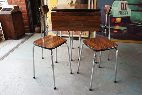 Vintage Retro Set of Table with 2 Chairs & 2 Stools in Brown Formica & Chrome - erfmann-vintage