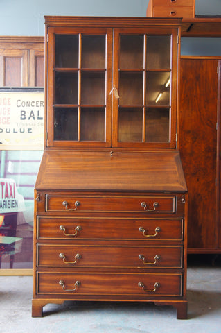Early 20th Century Mahogany Tall Writing Bureau Bookcase Filing Cabinet By Jans of London - erfmann-vintage
