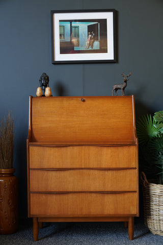 Mid Century Vintage Writing Bureau by McIntosh in Teak