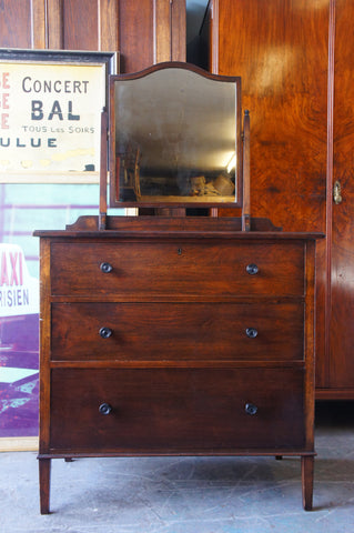 Vintage Edwardian Polished Mahogany Veneer Chest of Drawers with Mirror - erfmann-vintage