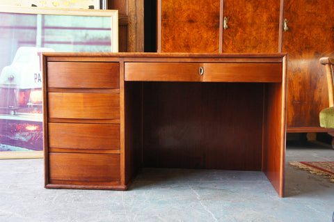Mid Century Walnut Veneer Desk Curved Drawers Office School Room - erfmann-vintage