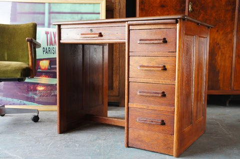 Vintage 1940s Solid Oak Desk with Drawers, Filing & Writing Compartments Childs' Room - erfmann-vintage
