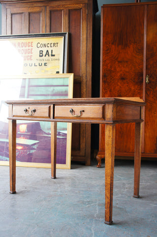 Edwardian or Late Victorian Small Oak Console Table/Desk with Drawers - erfmann-vintage
