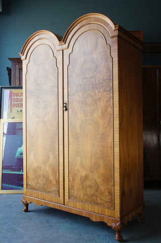 Art Deco Edwardian Double Wardrobe in Walnut with Key & Mirror - erfmann-vintage