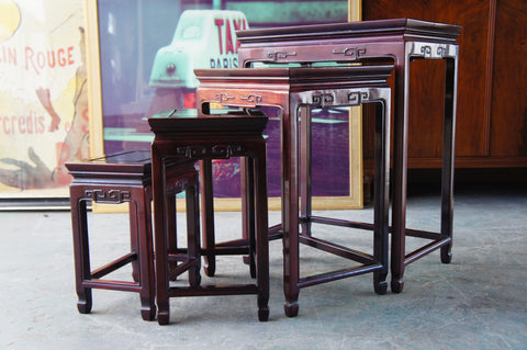 Contemporary Chinese Asian Oriental Rosewood Dark Wood Nest of 4 Tables - erfmann-vintage