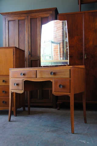 Vintage Retro 1940s Oak Veneer 'Christwiner' Dressing Table with Mirror - erfmann-vintage