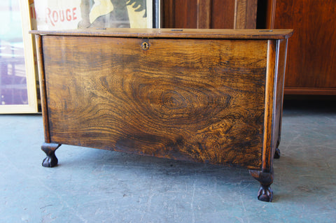Victorian Solid Elm Coffer Trunk Blanket Box Chest Coffee Table - erfmann-vintage