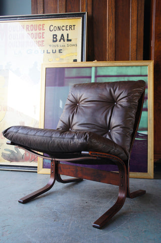 Mid Century Norwegian Brown Leather Siesta Chairs Ingmar Relling for Westnofa Møbelfabrikk - erfmann-vintage