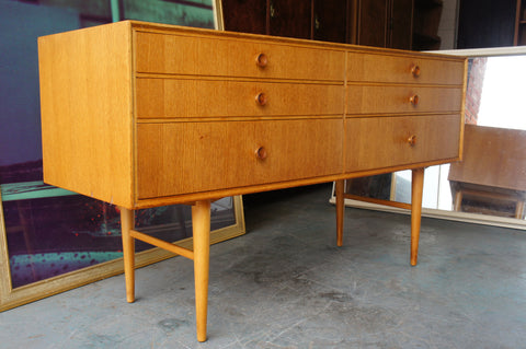 Vintage Retro Oak Veneer Long Chest of Drawers Sideboard Unit - erfmann-vintage