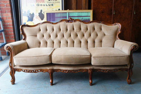 Edwardian 3 Seater Sofa Settee Pale Brown Ornate Reupholstered - erfmann-vintage
