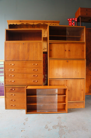 Danish PS System, Sesame Range - Mid Century Wall Mounted Cabinets, shelving & Storage B3309 Full Set - erfmann-vintage
