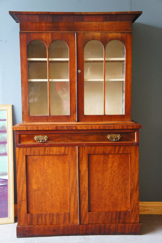 Early Victorian Mahogany Dresser Glass Fronted Cabinet Cupboard - erfmann-vintage