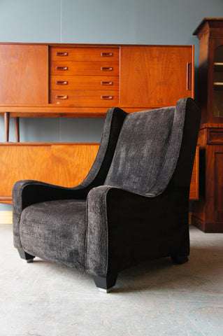 Contemporary Armchair Charcoal Dark Grey/Black Brushed Cotton - erfmann-vintage