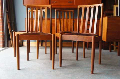 Mid Century Parker Knoll Style Dining Chairs x 4 Teak Brown Seats - erfmann-vintage