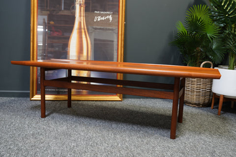 Mid Century Vintage Dark Teak Dalescraft 'Surfboard' Coffee Table