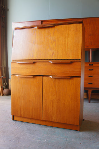 Retro Uniflex Writing Bureau Desk Cabinet 1980s Teak - erfmann-vintage