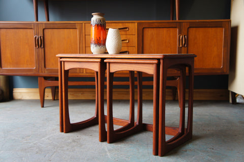 Vintage Retro Mid Century Nest of 3 Teak Tables Danish Style - erfmann-vintage