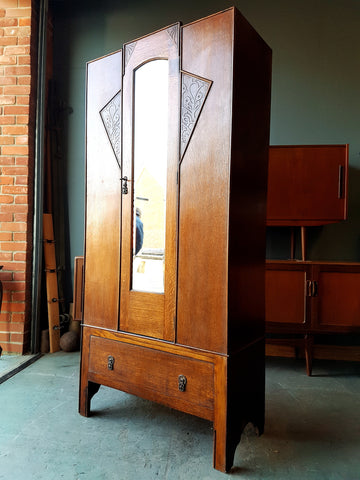 Art Deco Oak Wardrobe 1920-30s Drawer Mirror great for Storage - erfmann-vintage