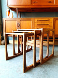 Danish Style Sleigh Legged Nest of Tables in Teak Mid Century - erfmann-vintage